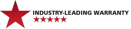 Industry-leading warranty badge